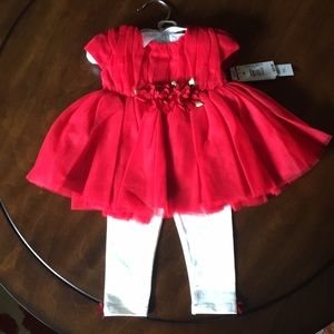 Koala baby boutique red dress and leggings 6months